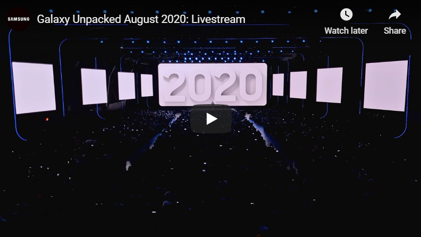 Galaxy Unpacked August 2020 Livestream Video